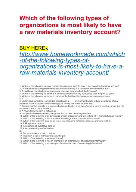 raw materials inventory